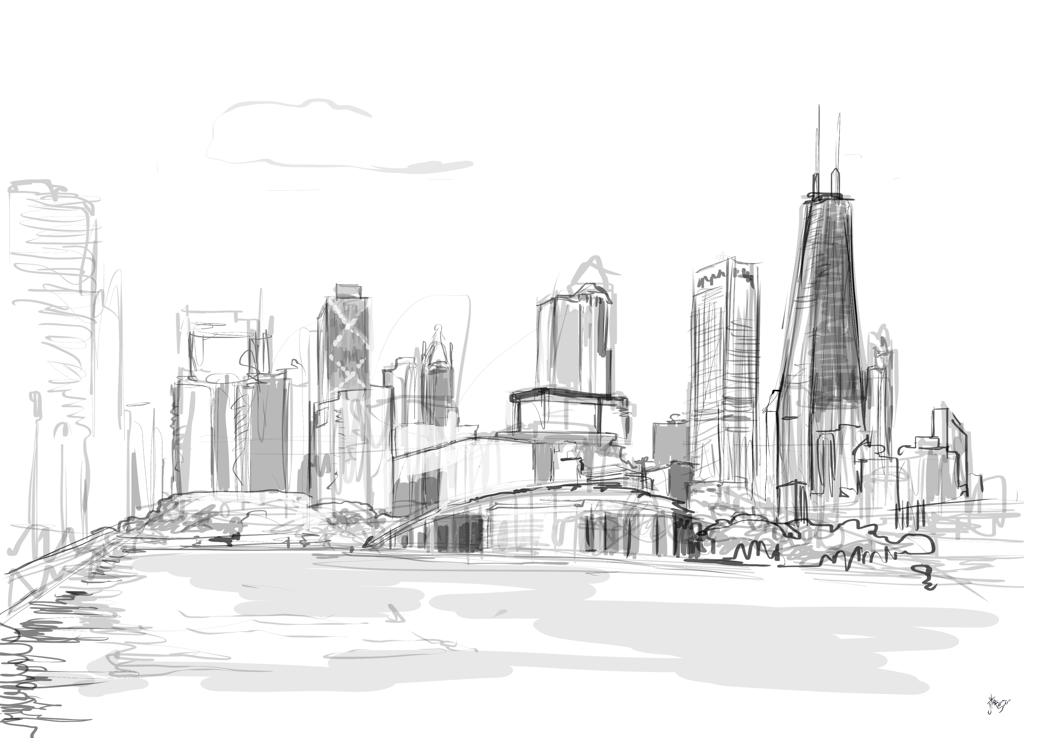 Free Coloring Pages Of City Skyline Chicago Skyline Coloring Page