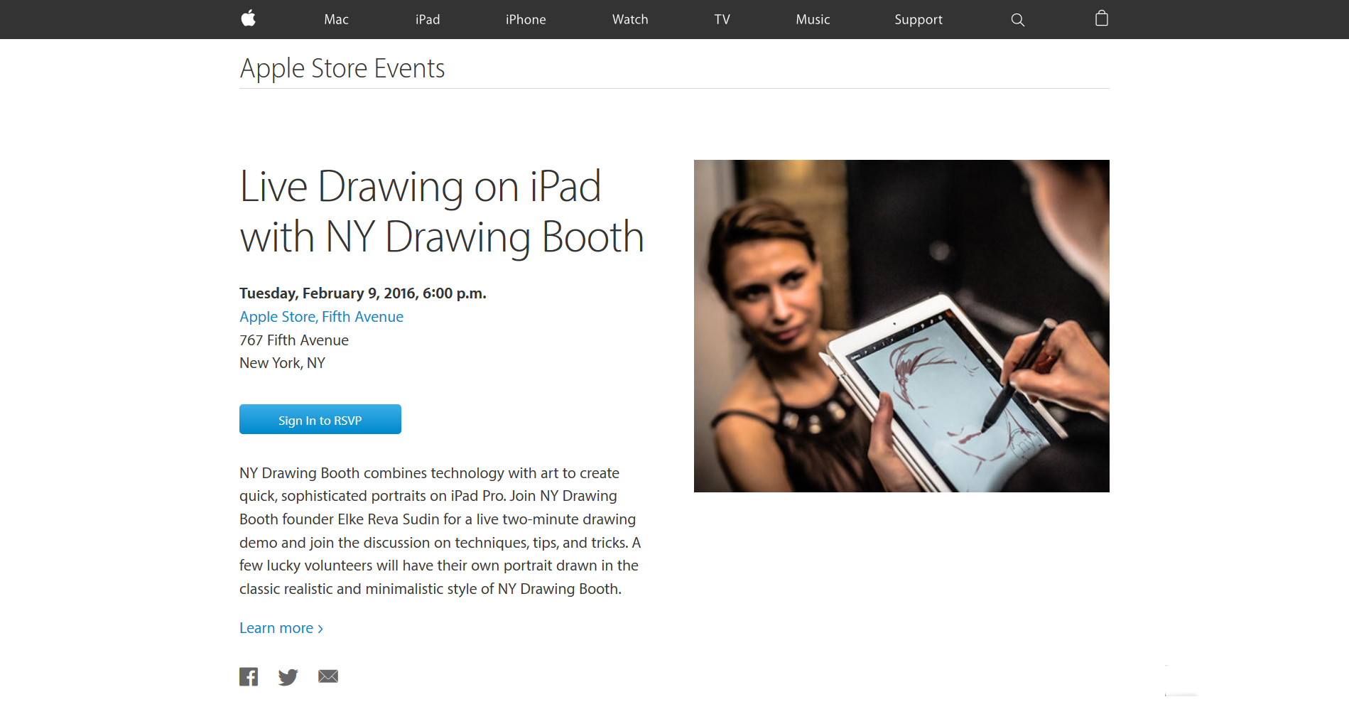 Live Drawing on iPad - Apple Store NY event